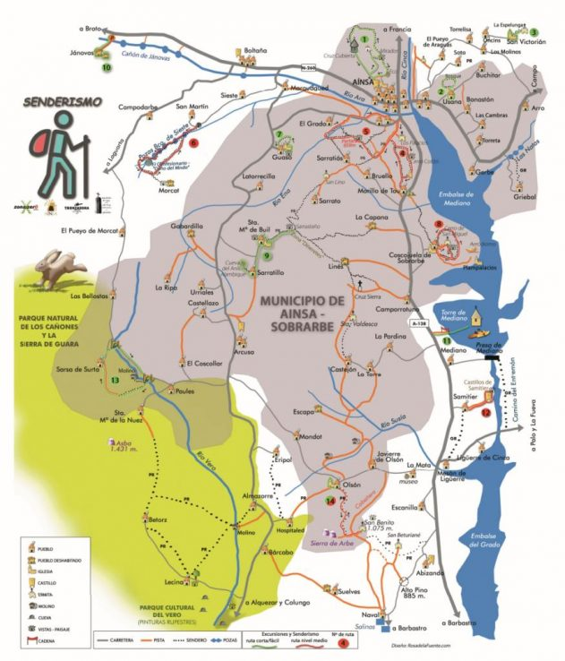 Mapa de rutas en Aínsa y cercanías, dentro del Sobrarbe, Pirineo Aragonés